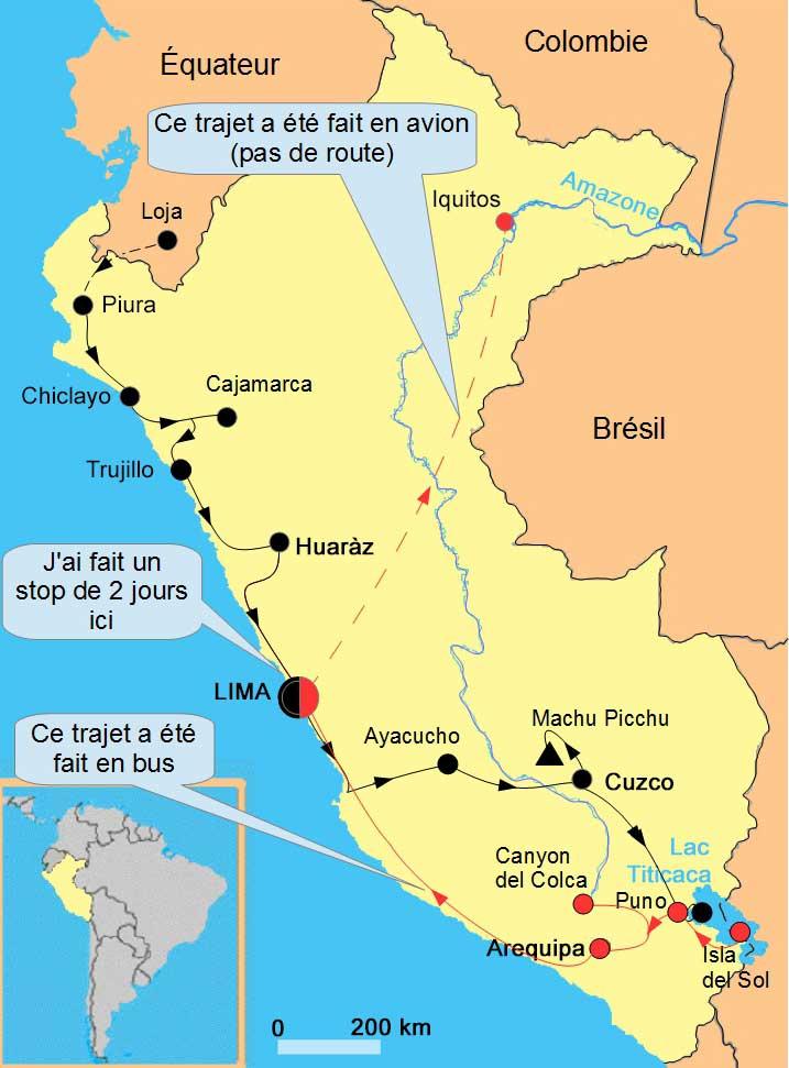 Carte Pérou bus Lima